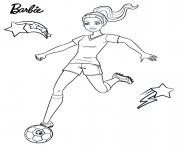barbie joue au foot sport dessin à colorier