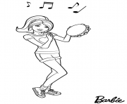 soiree musique avec le tambourine de poupee barbie dessin à colorier