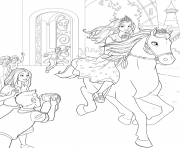 barbie princesse avec son cheval tawny dessin à colorier