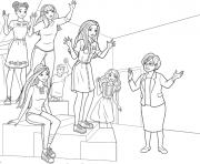 barbie princesse et ses collegues en plein cours dessin à colorier
