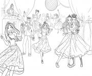 anniversaire de barbie princesse avec dj et musique dessin à colorier