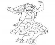 barbie princesse danse avec une belle robe etoilee dessin à colorier