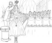 barbie princesse recoit une couronne pour la plus belle fille de la soiree dessin à colorier