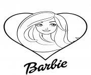 barbie love avec un coeur dessin à colorier