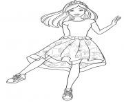 barbie princesse avec une robe de fleurs dessin à colorier