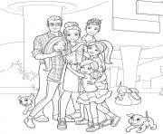 barbie et sa famille enfants et chiens dessin à colorier