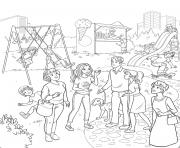 barbie princesse est au parc avec ses amis dessin à colorier