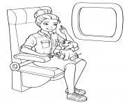 barbie princesse dans un avion avec son chien dessin à colorier