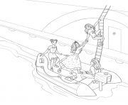 princesse barbie stacie et barbie midge sortent du bateau dessin à colorier
