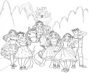 barbie princesse et ses amies avec le prince dessin à colorier