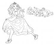 barbie princesse fait tombe des gendarmes et rigole dessin à colorier