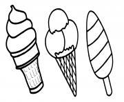 Coloriage glaces kawaii tout genre chocolat fraise vanille dessin