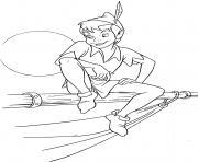 peter pan sur un bateau avec le coucher du soleil disney dessin à colorier