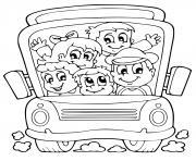 bus scolaire avec etudiants dessin à colorier