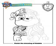 finish the drawing of rubble paw patrol movie dessin à colorier