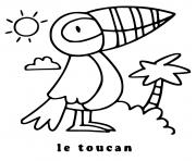 Coloriage oiseau toucan simple dessin