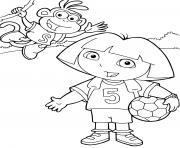 dora joue au foot avec babouche equipe de football dessin à colorier