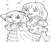 dora et sa grande soeur rentree scolaire dessin à colorier