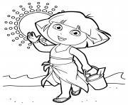 dora marche sur la plage en vacances dessin à colorier