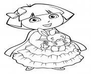 dora avec une belle robe de princesse dessin à colorier