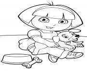 dora et son chien adorable animal dessin à colorier
