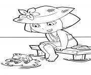 dora fait du camping pres du lac avec une grenouille dessin à colorier
