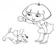 dora joue au ballon avec le chien dessin à colorier