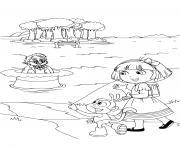 dora et babouche dans la foret pres du lac dessin à colorier