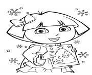 dora carte de noel et temps des fetes dessin à colorier