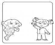 dora et son amie asiatique voyage en chine dessin à colorier