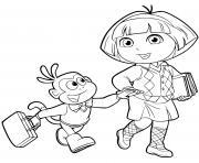 dora retourne a lecole rentree scolaire dessin à colorier
