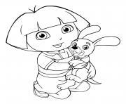 dora et son petit chien dessin à colorier