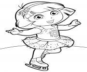 dora fait du patinage artistique dessin à colorier