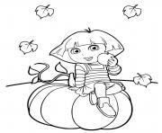 dora sur une citrouille halloween dessin à colorier