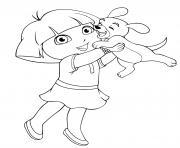 dora embrasse son chiot dessin à colorier