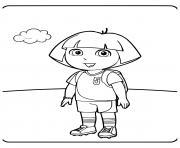 dora joue au foot dessin à colorier