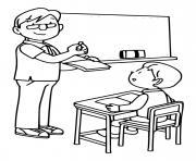 septembre premier jour de classe professeur et etudiant dessin à colorier