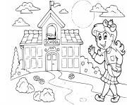 une etudiante la rentree scolaire dessin à colorier