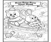 nursery rhymes row row row your boat dessin à colorier