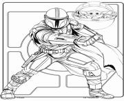 Mandalorian avec Baby Yoda Crayola dessin à colorier