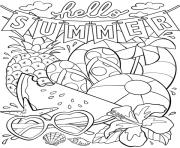 bonjour ete hello summer dessin à colorier