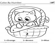 kitten in a basket color by number dessin à colorier