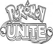 pokemon unite logo jeu video arene de bataille dessin à colorier