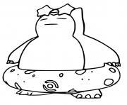 pokemon unite ronflex avec bouee dessin à colorier