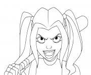 Harley Quinn en mission de recherche et destruction dans une jungle dessin à colorier