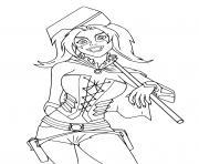 Harley Quinn de Suicide Squad avec un marteau dessin à colorier