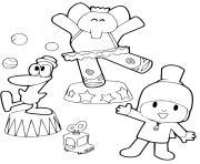 Coloriage pocoyo fait des dessins dessin