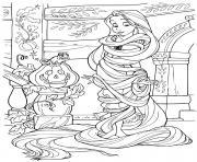 raiponce se prepare pour halloween citrouille et momie avec ses cheveux dessin à colorier