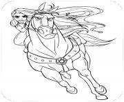 princesse raiponce et son cheval maximus dessin à colorier