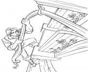 flynn rider escalade la tour avec les cheveux de raiponce dessin à colorier